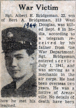 Newspaper clipping - reporting death of Albert Bridgeman