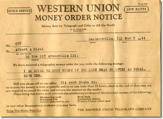 Telegram from Lee to his parents